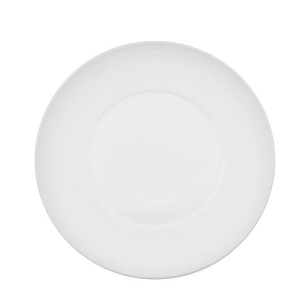 "CAC TST-W9 Transitions 9 1/2"" Bright White Wide Rim Porcelain Plate - 24/Case"