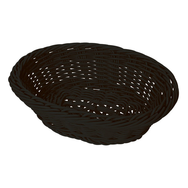 "GET WB-1504-BK 9 1/4"" x 6 3/4"" Designer Polyweave Black Oval Basket - 12/Case"