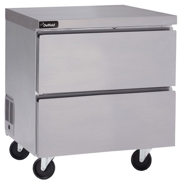 """Delfield GUR27P-D 27"""" Undercounter Refrigerator with Two Drawers and 5"""" Casters"""