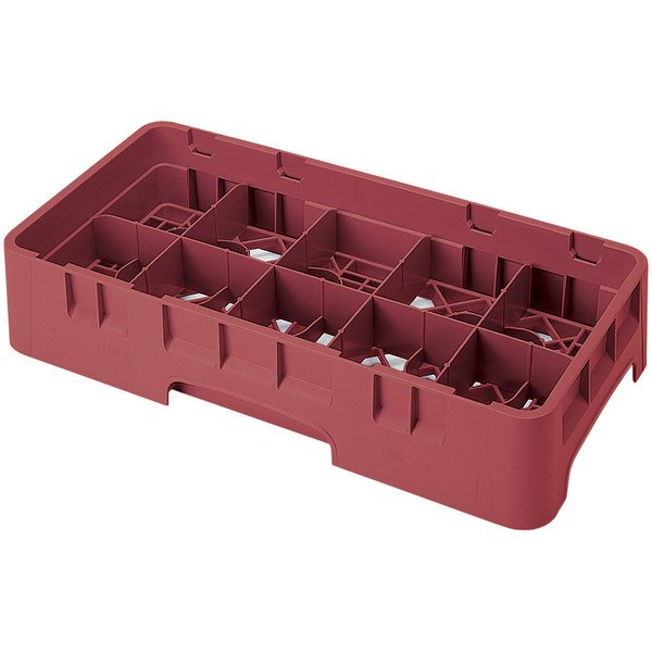 "Cambro 10HS958416 Cranberry Camrack Customizable 10 Compartment 10 1/8"" Half Size Glass Rack"