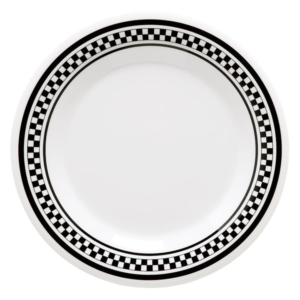 """GET DP-909-X 9"""" Diamond Chexers Creative Table Round Plate - 24/Case"""