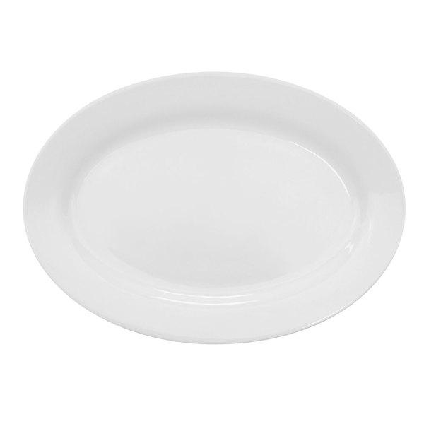 "CAC HMY-14 Harmony 13"" X 8 3/4"" Super White Porcelain Platter - 12/Case"