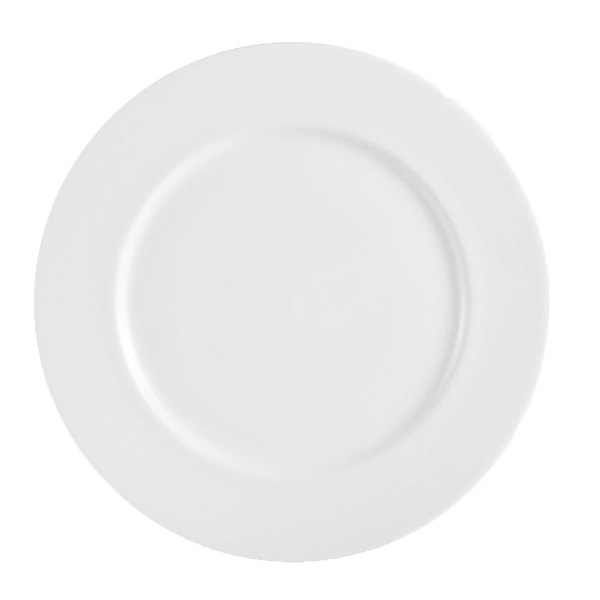 """CAC HMY-20 Harmony 11 1/4"""" Super White Porcelain Plate - 12/Case"""