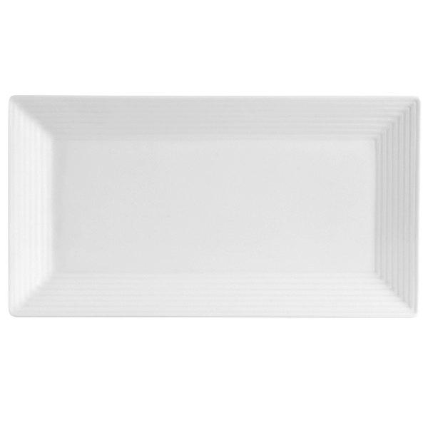 "CAC CBS-RT12 Cambridge 10"" x 5 1/2"" Bright White Rectangular Porcelain Platter - 24/Case"