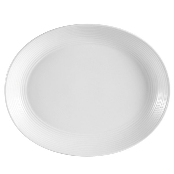 "CAC CBS-12C Cambridge 10 1/2"" x 8 3/8"" Bright White Oval Porcelain Coupe Platter - 24/Case"