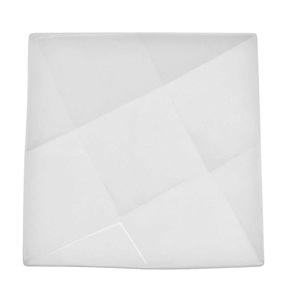 """CAC QZT-7 Crystal 7"""" Bright White Square Porcelain Plate - 36/Case"""