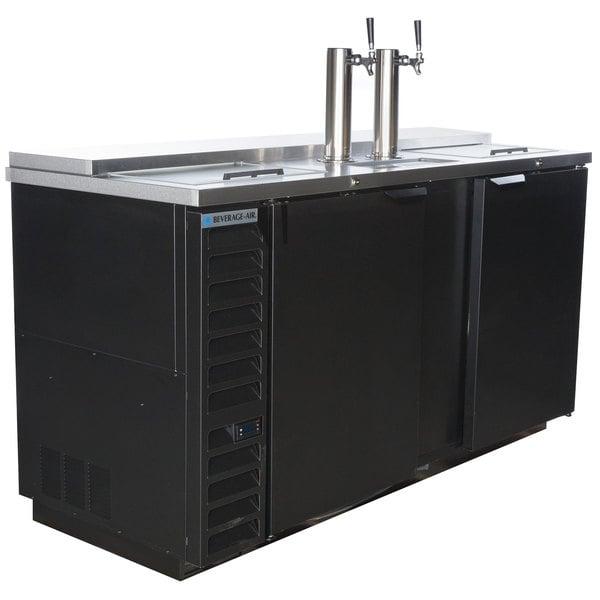Beverage-Air DD68HC-1-C-B 2 Single Tap Club Top Kegerator Beer Dispenser - Black, (3) 1/2 Keg Capacity Main Image 1