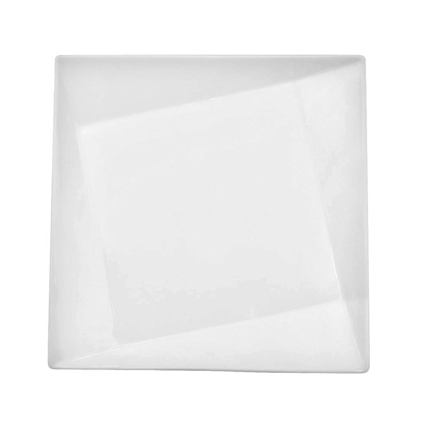 """CAC QZT-210 Crystal 10"""" Bright White Square Porcelain Plate - 12/Case"""