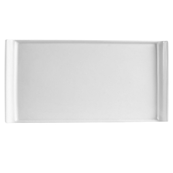 "CAC DYN-33 Dynasty 8"" x 4"" Bone White Rectangular Porcelain Platter - 36/Case"