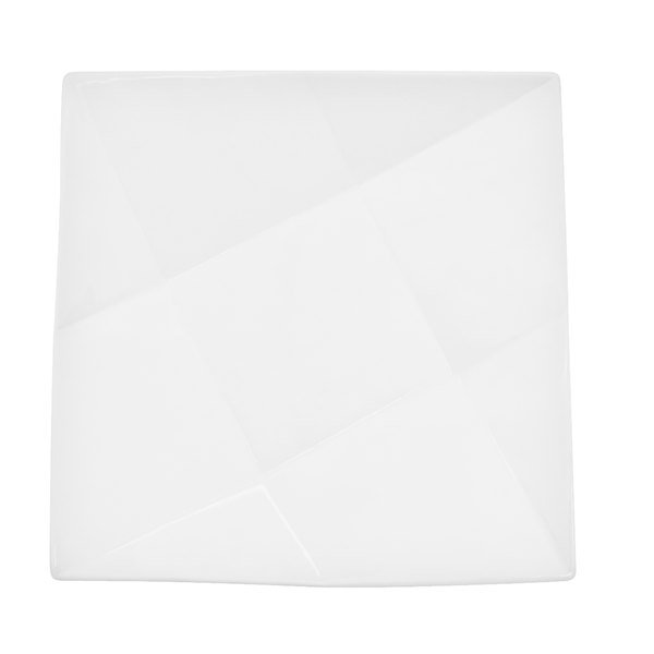 "CAC QZT-16 Crystal 10 1/2"" Bright White Square Porcelain Plate - 12/Case"