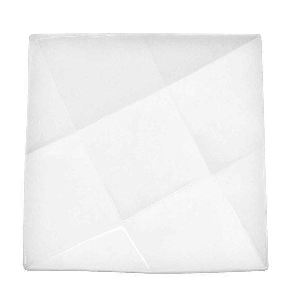 """CAC QZT-22 Crystal 8"""" Bright White Square Porcelain Plate - 36/Case"""