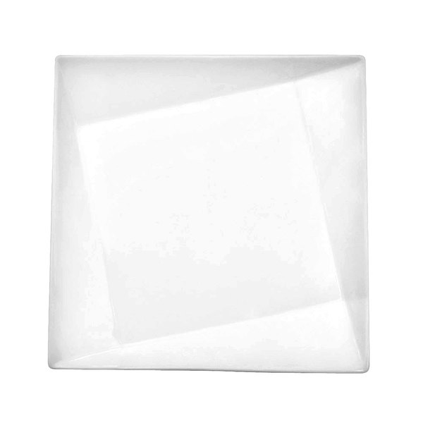 "CAC QZT-212 Crystal 12"" Bright White Square Porcelain Plate - 12/Case"