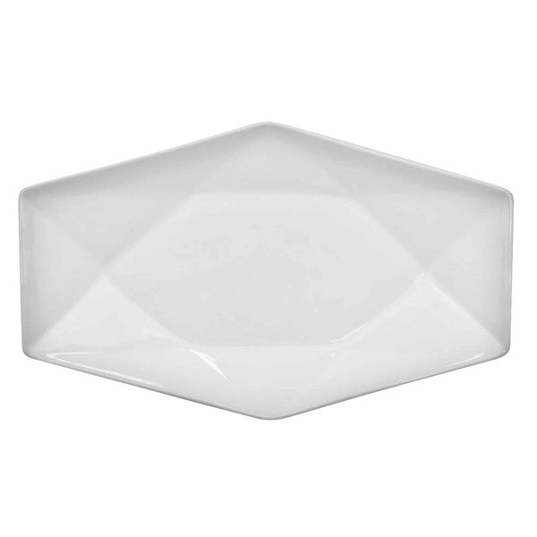 "CAC QZT-12 Crystal 10"" x 6 1/4"" Bright White Rectangular Porcelain Platter - 24/Case"