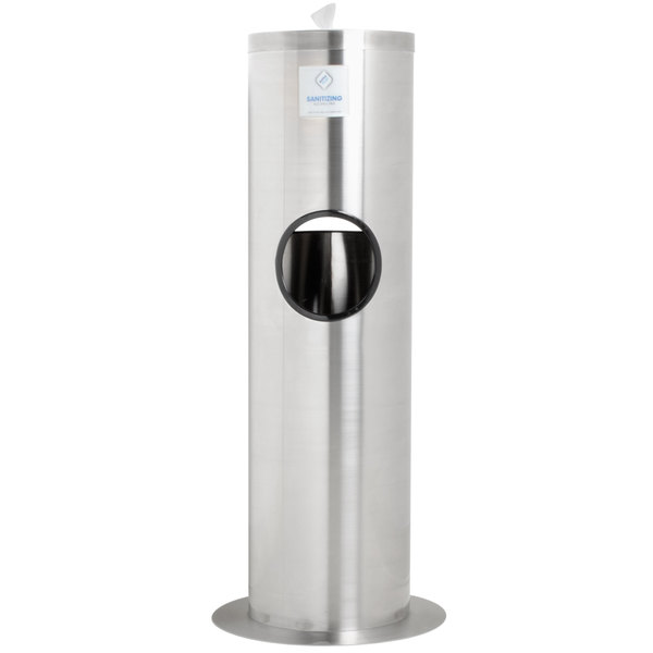 WipesPlus Powder Coated Floor Dispenser Station with Trash Can