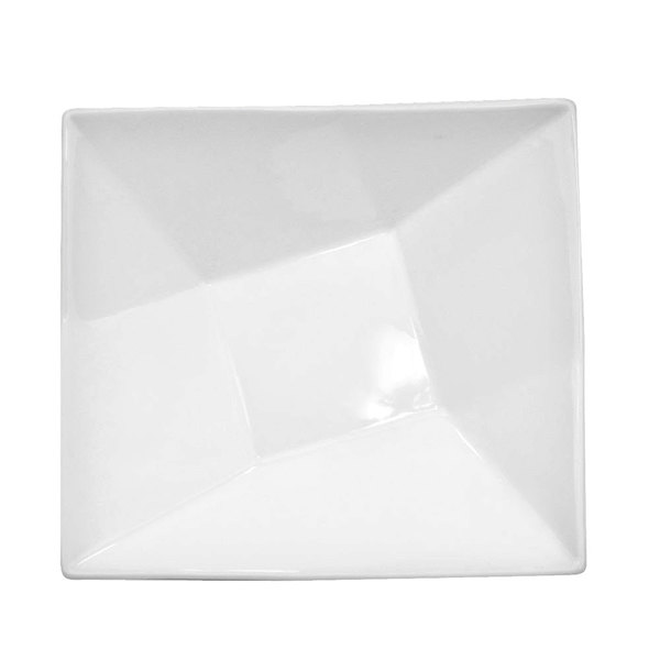 CAC QZT-B6 Crystal 10 oz. Bright White Square Porcelain Bowl - 36/Case