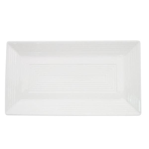 "CAC TGO-RT51 Tango 14 1/2"" x 8 1/4"" Bone White Rectangular Porcelain Platter - 12/Case"