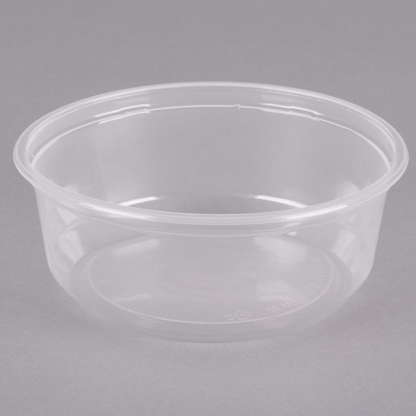 Choice 8 oz. Microwavable Translucent Round Deli Container - 50/Pack