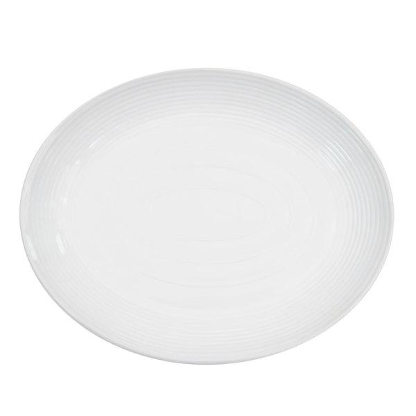 "CAC TGO-14C Tango 12 3/4"" x 10"" Bone White Porcelain Coupe Platter - 12/Case"