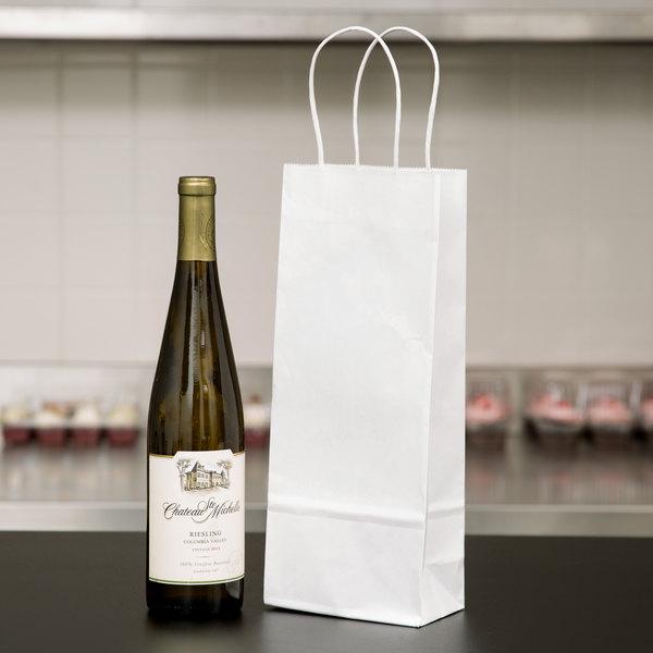 "Duro Vino 5 1/4"" x 3 1/4"" x 13 1/8"" White Paper Wine Shopping Bag with Handles - 250/Bundle Main Image 4"