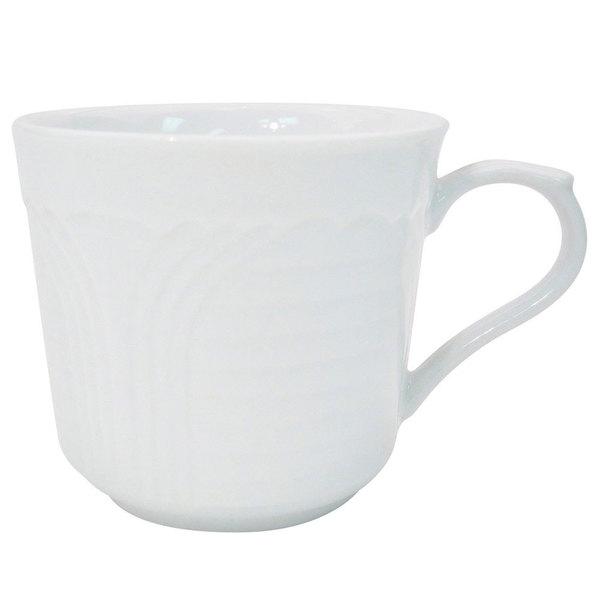 CAC CRO-35 Corona 3.5 oz. Super Bright White Embossed Porcelain A.D. Cup - 36/Case
