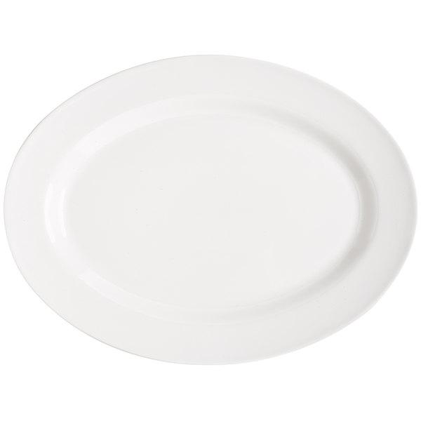 """GET OP-618-W Milano 18"""" x 13 1/2"""" White Oval Platter - 12/Case"""