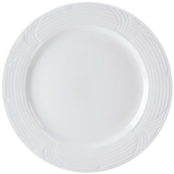 "CAC CRO-6 Corona 6 1/2"" Super Bright White Embossed Round Porcelain Plate - 36/Case"