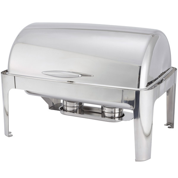 8 Qt. Full Size Polished Stainless Steel Roll Top Chafer