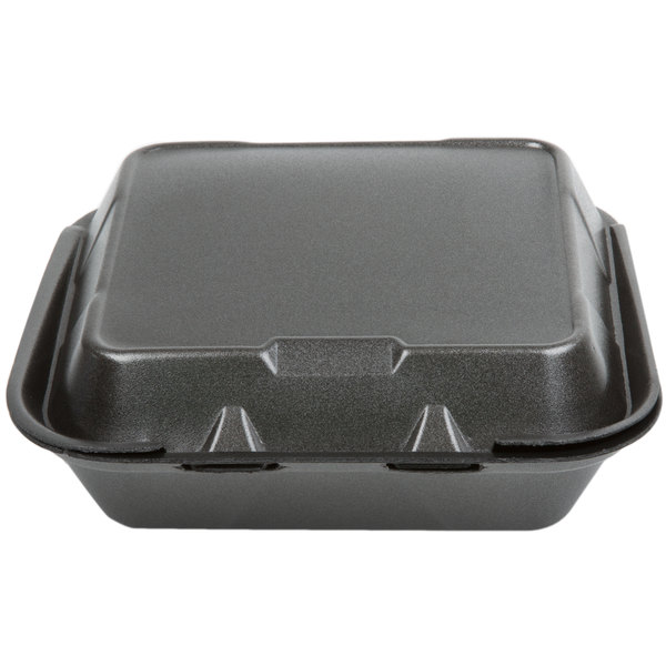 Genpak SN243-BK 8 inch x 8 inch x 3 inch Black Foam 3 Compartment Container with Hinged Lid - 200/Case
