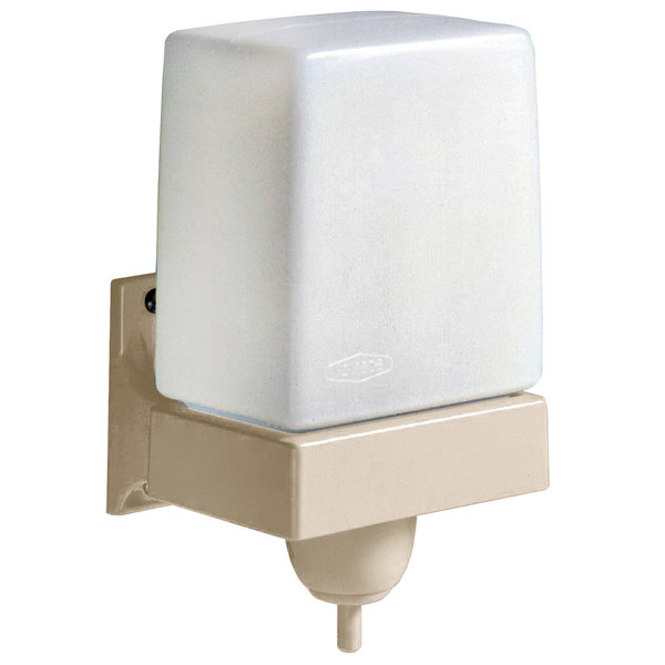 Bobrick ClassicSeries B-156 LiquidMate Wall-Mounted 24 oz. Soap Dispenser with Beige ABS Mounting Bracket Main Image 1