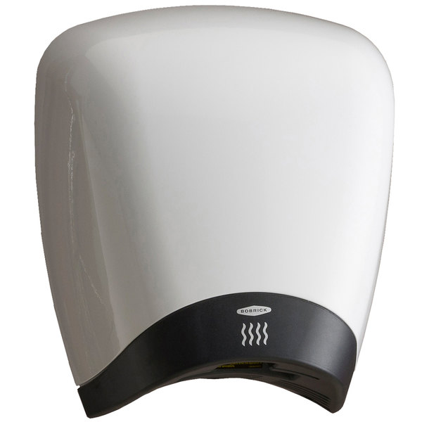 Bobrick B-770 230V QuietDry Surface-Mounted High Speed Hand Dryer with White High Gloss Epoxy Cover - 1380W