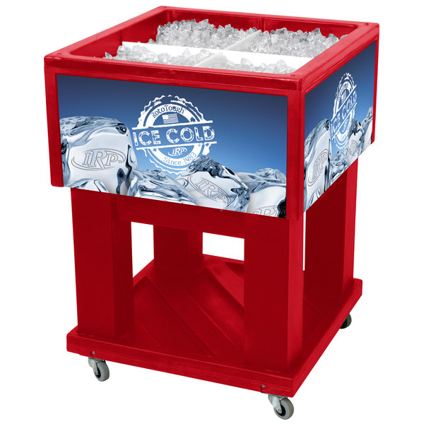 "IRP Red Mini Texas Icer 5015 Insulated Ice Bin / Merchandiser 32 Qt. with Dividers and Drain 23 1/4"" x 23 1/4"""