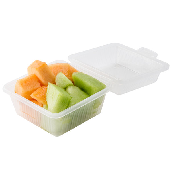 "GET EC-08 4 3/4"" x 4 3/4"" x 3 1/4"" Clear Customizable Reusable Eco-Takeouts Container - 24/Case Main Image 4"