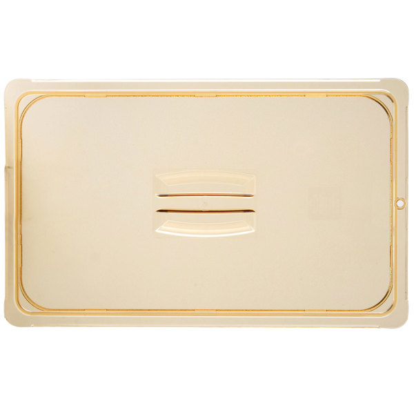 Carlisle 10410U13 StorPlus Full Size Amber Universal High Heat Handled Lid