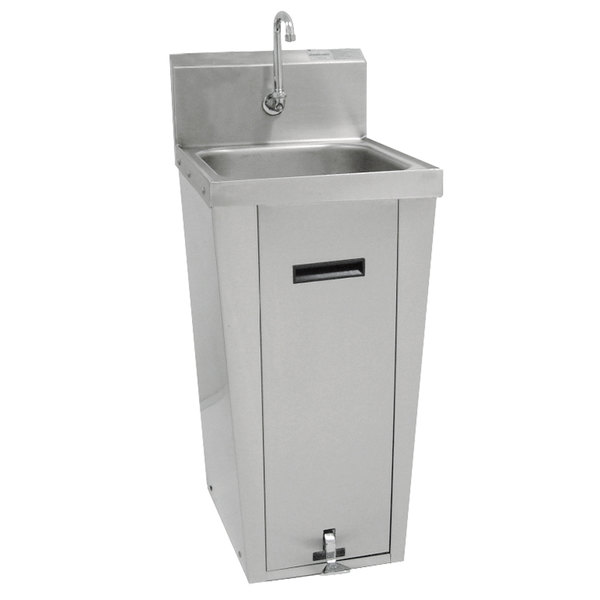 """Advance Tabco 7-PS-18 Hands Free Hand Sink with Pedestal Base and 14"""" x 16"""" Bowl"""
