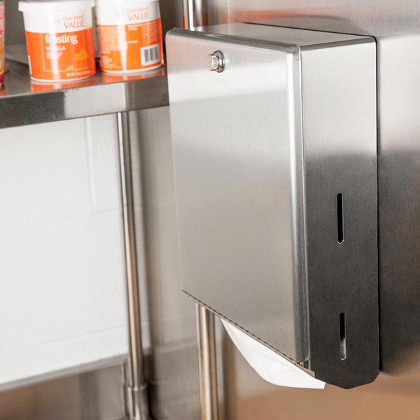 Bobrick B-2620 Stainless Steel Surface Mounted Paper Towel Dispenser - 400 C-Fold Towel Capacity Main Image 5