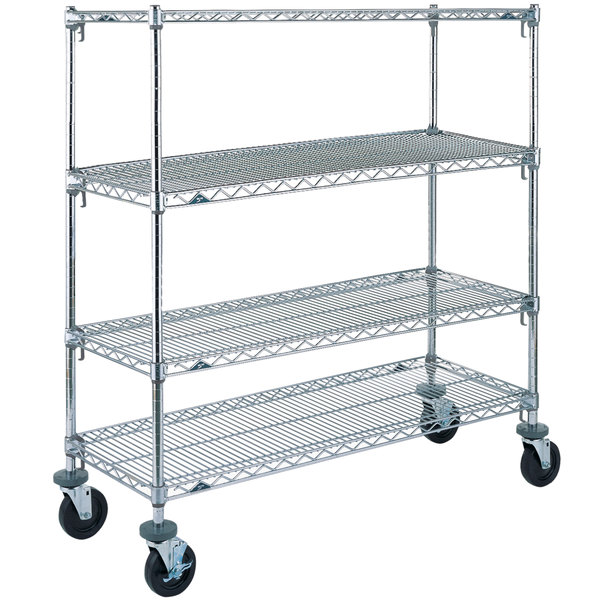 """Metro A566BC Super Adjustable Chrome 4 Tier Mobile Shelving Unit with Rubber Casters - 24"""" x 60"""" x 69"""""""
