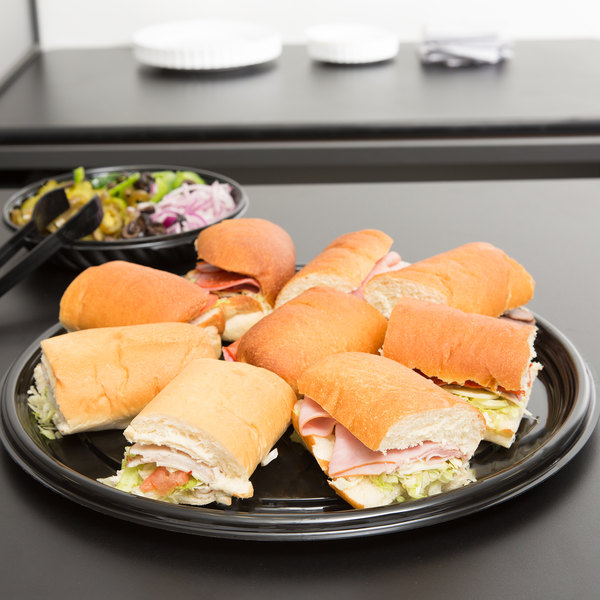 """Visions Black PET Plastic 16"""" Thermoform Catering / Deli Tray - 5/Pack"""