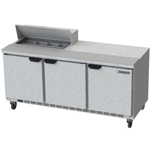 """Beverage-Air SPE72HC-08 Elite Series 72"""" 3 Door Refrigerated Sandwich Prep Table"""