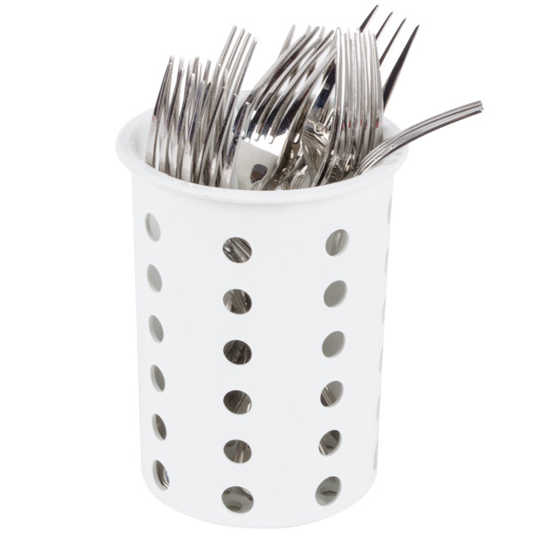 Steril-Sil RP-25-WHITE White Perforated Plastic Flatware Cylinder Main Image 5
