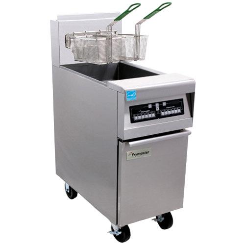 Frymaster PH155-2C Natural Gas High Efficiency Split Pot Fryer 50 lb. with Programmable Computer Controls - 80,000 BTU Main Image 1