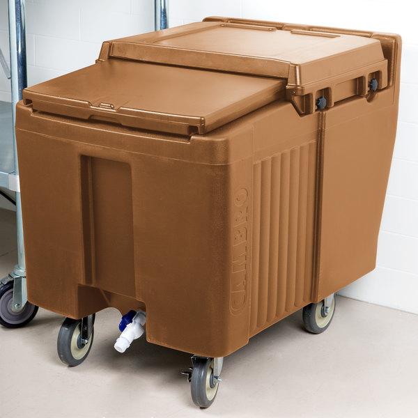 Cambro ICS125L157 SlidingLid™ Coffee Beige Portable Ice Bin - 125 lb. Capacity