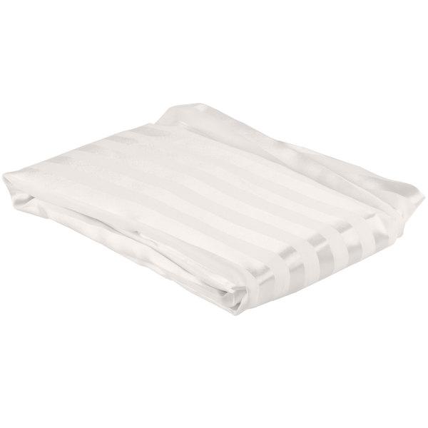 "Each 100% Polyester 71"" x 74"" Beige Satin Stripe Ringless Shower Curtain"