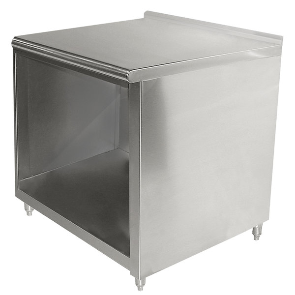 "Advance Tabco EF-SS-363 36"" x 36"" 14 Gauge Open Front Cabinet Base Work Table with 1 1/2"" Backsplash"