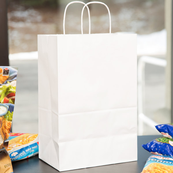 "9"" x 5 3/4"" x 13 1/2"" White Shopping Bag with Handles - 250/Bundle"