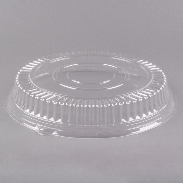 "Visions 12"" Clear PET Plastic Round Catering Tray Low Dome Lid - 5/Pack"