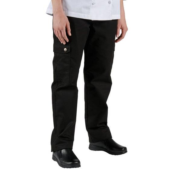 Chef Revival LP002BK Size M Black Ladies Cargo Chef Pants - Poly-Cotton