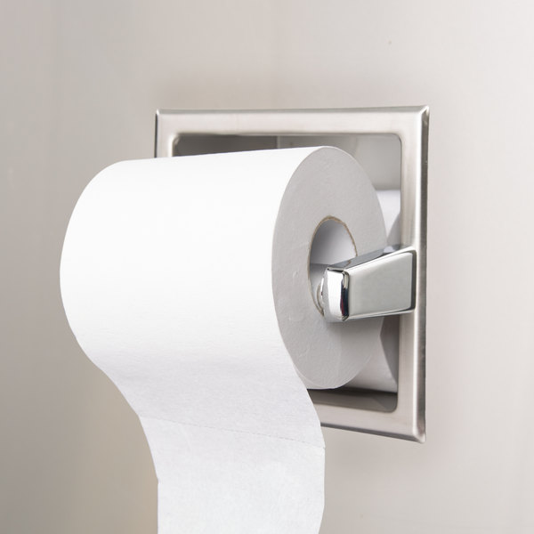 Bobrick B 6637 Recessed Toilet Tissue Dispenser With Storage For Extra Roll With Satin Finish