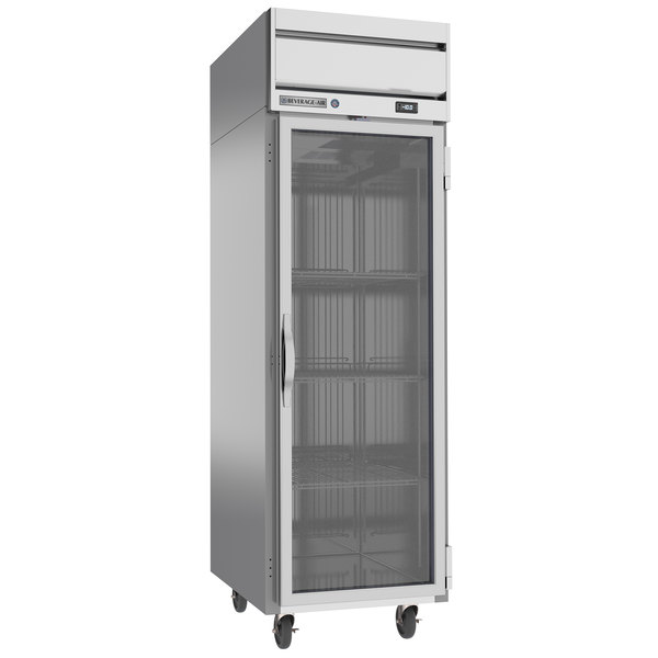 """Beverage-Air HFS1-1G Horizon Series 26"""" Glass Door Reach-In Freezer with Stainless Steel Interior and LED Lighting Main Image 1"""
