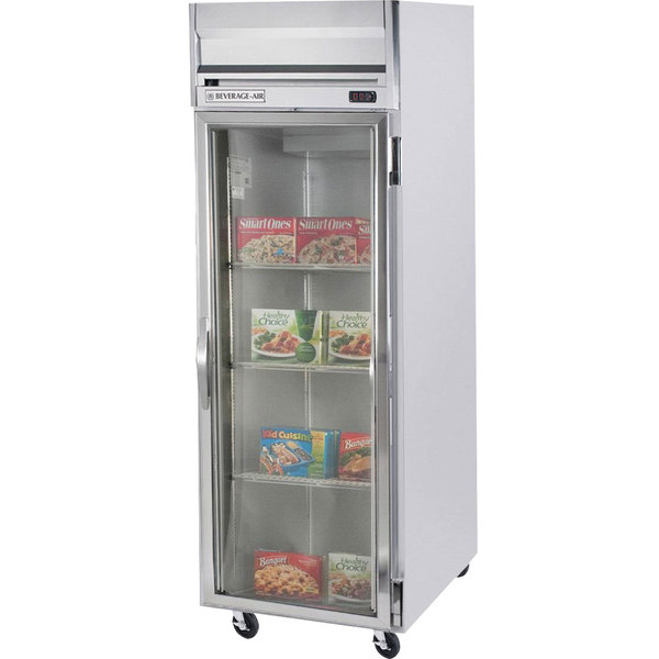 """Beverage-Air HFS1-1G-LED Horizon Series 26"""" Glass Door Reach-In Freezer with Stainless Steel Interior and LED Lighting"""