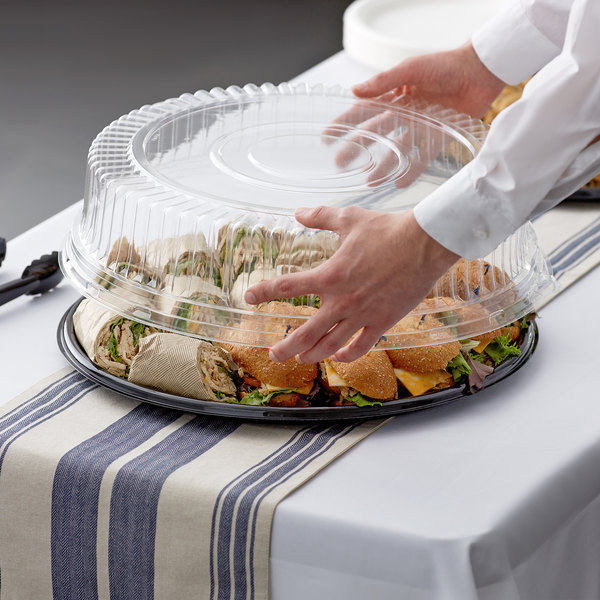 """Visions 18"""" Clear PET Plastic Round Catering Tray High Dome Lid - 5/Pack"""